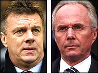 Aston Villa boss David O'Leary (left) and England coach Sven-Goran Eriksson