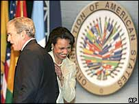 Mr Bush and Ms Rice
