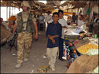 Lance Corporal Terry Findlay in Al Faaw market