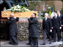 Family and friends follow the coffin of Katherine Horton