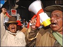 Manifestantes en La Paz