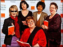 Orange Prize judging panel - Jude Kelly, Joanne Harris, Jenni Murray, Moira Stuart and Jo Brand