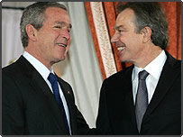 US President Bush and UK Prime Minister Tony Blair