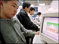 Man surfing the internet in China