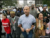 Mayor Ray Nagin marches in a New Orleans MLK Day parade