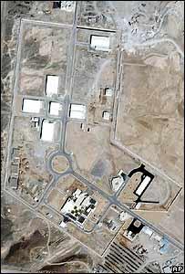 Imagen satelital del complejo de enriquecimiento de uranio, Natanz, que Irán construyó en secreto.