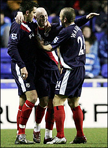 West Brom's Richard Chaplow is congratulated after scoring against Reading