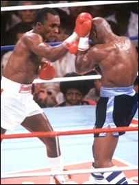Sugar Ray Leonard (left) fights Marvin Hagler