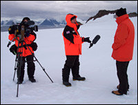 Interviewing outside at Rothera (BBC)