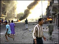 Scene of a car bombing in Baghdad, Iraq