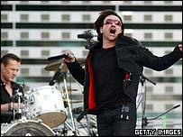 U2 pictured at Twickenham last week