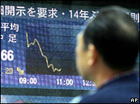 A man watches a video screen showing a downturn curve of stock prices in Tokyo, Wednesday Jan. 18, 2006