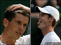 Tim Henman and Andrew Murray at Wimbledon