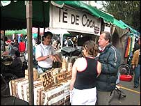 Street market selling coca products in the Colombian capital, Bogota