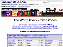 World Clock website