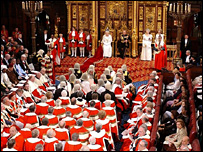 House of Lords during the  Queen's speech