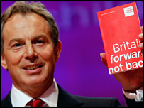 Tony Blair with Labour's election manifesto