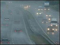 Traffic on the M5 near Dursley, Gloucs, on Friday morning