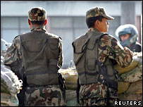 Soldiers stand guard in the Nepalese capital, Kathmandu