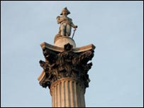 The top of Nelson's Column in London's Trafalgar