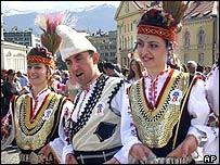 Three traditional folk dancers