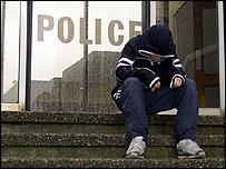 A child outside a police station