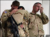 US soldiers grieve for fallen comrades