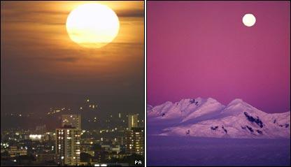 Comparaci�n del tama�o de la luna