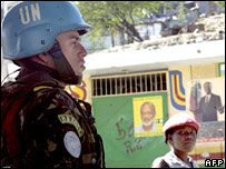 A Brazilian peacekeeper at a checkpoint in Port-au-Prince