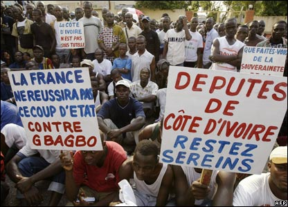 Protesters outside the French embassy in Abidjan, Ivory Coast
