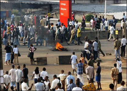 Protesters in Abidjan, Ivory Coast