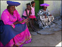 Herero women in traditional dress, Okahandja