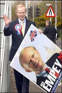 Sir Reg Empey on the election campaign trail earlier this year