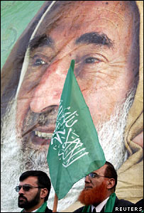 Hamas candidates in front of a poster of Sheikh Ahmed Yassin