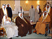 Kuwaiti rulers, including Sheikh Saad Abdullah in wheelchair