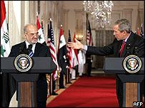 Ibrahim Jaafari and George W Bush