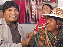 Evo Morales, Bolivia's President-elect shakes hands with indigenous leaders