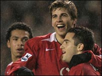 Giuseppe Rossi (right) scored twice for United