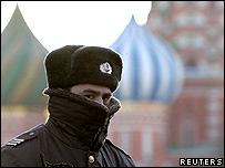 Russian policeman outside the Kremlin