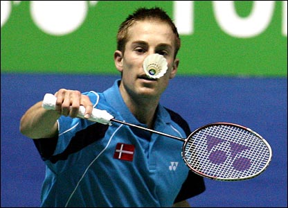 Denmark s peter gade in the men s singles during the first round of