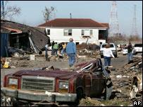 Louisiana street devastated by Katrina