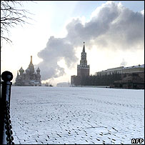 Steam drifts over the Kremlin