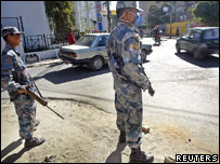 Security personnel patrol the streets in Kathmandu