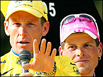 Lance Armstrong (left) and Jan Ullrich