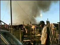 Destroyed houses in Zimbabwe