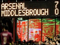Arsenal beat Middlesbrough 7-0