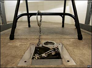 Ankle cuffs in interrogation room in Camp V