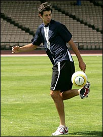 Croatian tennis player Mario Ancic shows off his football skills