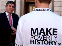 Gordon Brown talks with Make Poverty History campaigner