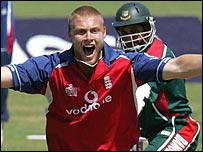 Flintoff took four wickets
